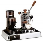 La Pavoni Set of Coffee Machine PLH and Grinder JDL on Base Luss
