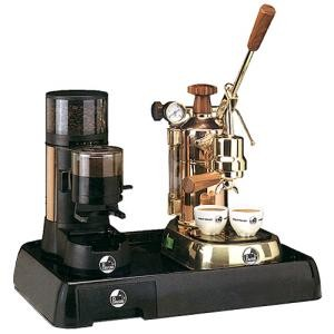 La Pavoni Set of Coffee Machine PRH and Grinder JDR on a Black B