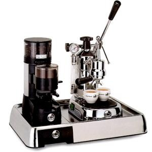 La Pavoni Set of Coffee Machine PL and Grinder JDL on Base Lusso